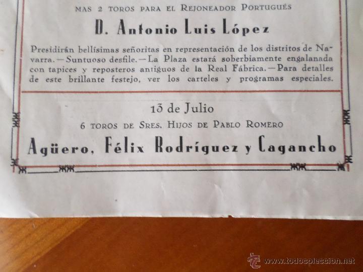 Carteles Toros: PROGRAMA FIESTAS DE PAMPLONA 1930 - Foto 3 - 50172044