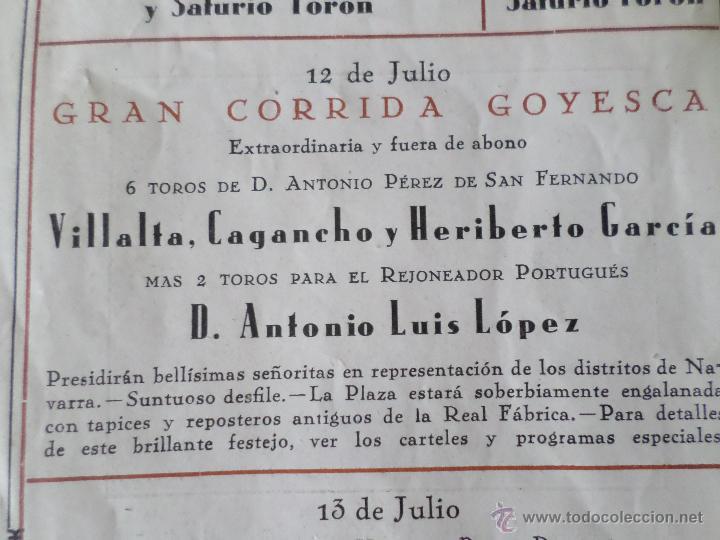 Carteles Toros: PROGRAMA FIESTAS DE PAMPLONA 1930 - Foto 13 - 50172044