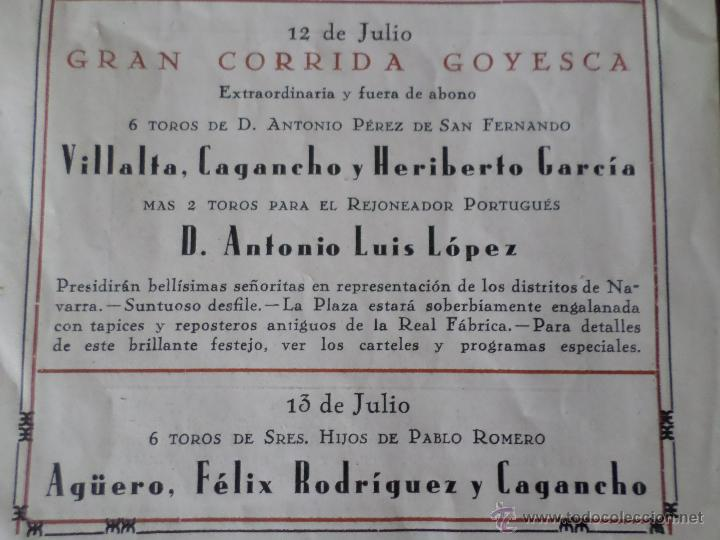 Carteles Toros: PROGRAMA FIESTAS DE PAMPLONA 1930 - Foto 25 - 50172044