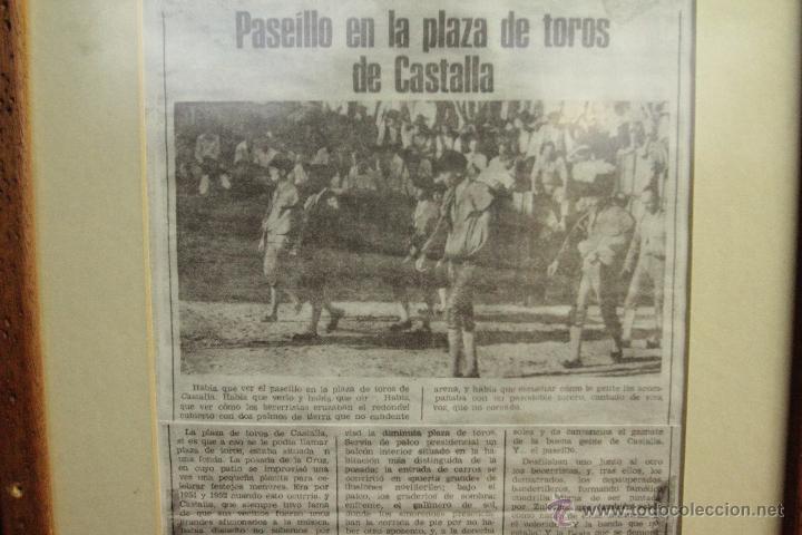 Carteles Toros: RECORTE DE PRESA, COPIA, CASTALLA, 1952, CORRIDA DE TOROS, PAQUITO ESPLÁ . ENMARCADO - Foto 3 - 50194575