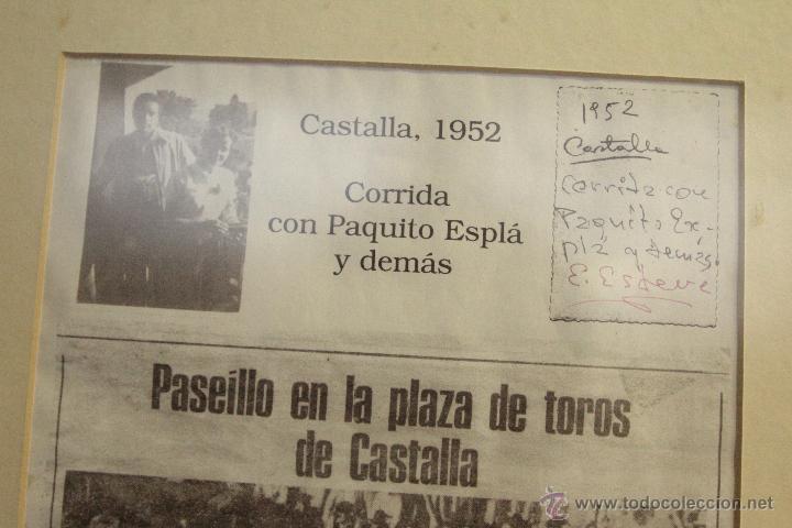 Carteles Toros: RECORTE DE PRESA, COPIA, CASTALLA, 1952, CORRIDA DE TOROS, PAQUITO ESPLÁ . ENMARCADO - Foto 4 - 50194575