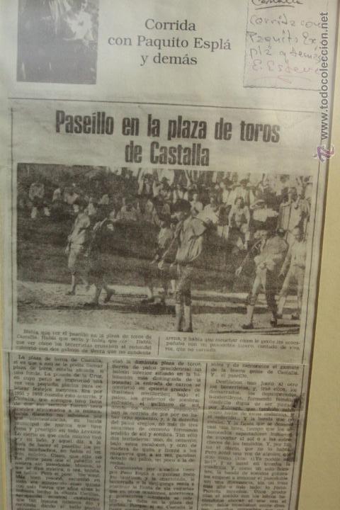 Carteles Toros: RECORTE DE PRESA, COPIA, CASTALLA, 1952, CORRIDA DE TOROS, PAQUITO ESPLÁ . ENMARCADO - Foto 5 - 50194575