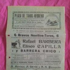 Carteles Toros: REQUENA (VALENCIA). CARTEL DE TOROS. 1930. Lote 50763774