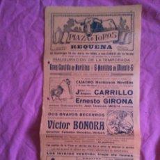 Carteles Toros: REQUENA (VALENCIA). CARTEL DE TOROS. 1930. Lote 50765269