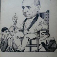 Carteles Toros: DIBUJO A TINTA ORIGINAL. THE KON LECHE. TOROS. GUERRA. EL GALLO. BELMONTE.. Lote 50937977