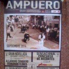 Carteles Toros: CARTEL PLAZA DE TOROS AMPUERO FIESTAS PATRONALES 2014. Lote 51022682