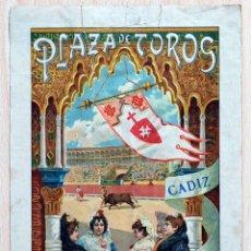 Carteles Toros: CARTEL PLAZA TOROS CÁDIZ 1897 CORRIDA BENEFICENCIA ANTONIO HALCÓN VINENT FUENTES PARRAO TIP GADITANA. Lote 51224117