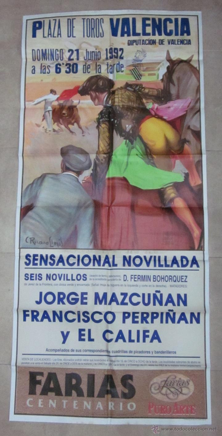 CARTEL GRANDE TOROS VALENCIA - AÑO 1992 - LITOGRAFIA - RUANO LLOPIS (Coleccionismo - Carteles Gran Formato - Carteles Toros)