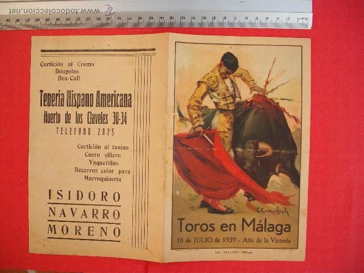 Carteles Toros: PROGRAMA TAURINO- PLAZA DE TOROS DE MÁLAGA- 18 DE JULIO DE 1939 - Foto 2 - 51486468