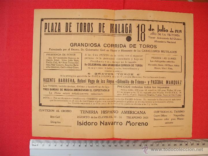 Carteles Toros: PROGRAMA TAURINO- PLAZA DE TOROS DE MÁLAGA- 18 DE JULIO DE 1939 - Foto 3 - 51486468