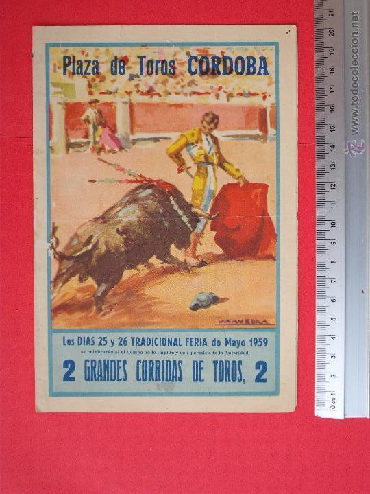 PROGRAMA TAURINO- PLAZA DE TOROS DE CORDOBA- 25 - 26-DE - MAYO DE 1959 (Coleccionismo - Carteles Gran Formato - Carteles Toros)