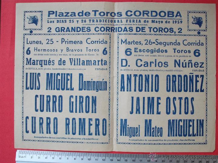 Carteles Toros: PROGRAMA TAURINO- PLAZA DE TOROS DE CORDOBA- 25 - 26-DE - MAYO DE 1959 - Foto 3 - 51486670