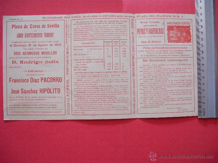 Carteles Toros: PROGRAMA TAURINO- PLAZA DE TOROS DE SEVILLA -1913 - 31 DE AGOSTO - Foto 2 - 51487144
