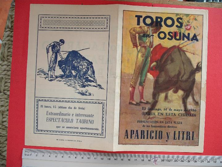Carteles Toros: PROGRAMA TAURINO- PLAZA DE TOROS DE OSUNA-1950 - Foto 2 - 51490270