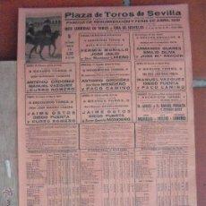 Carteles Toros: CARTEL DE TOROS PLAZA DE SEVILLA 1961. Lote 51496910