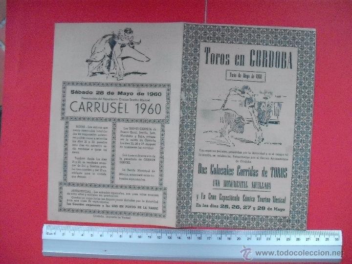 Carteles Toros: PROGRAMA TAURINO PLAZA DE TOROS DE CORDOBA 1960 - Foto 2 - 51500455