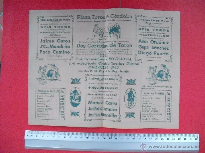 Carteles Toros: PROGRAMA TAURINO PLAZA DE TOROS DE CORDOBA 1960 - Foto 3 - 51500455
