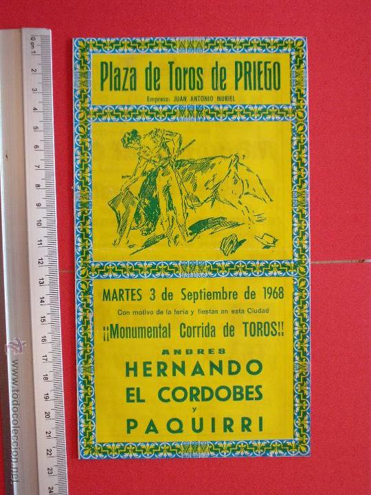 PROGRAMA TAURINO PLAZA DE TOROS DE PRIEGO 1968 (Coleccionismo - Carteles Gran Formato - Carteles Toros)