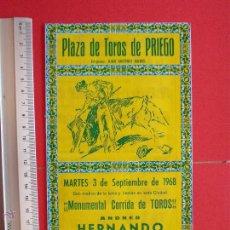 Carteles Toros: PROGRAMA TAURINO PLAZA DE TOROS DE PRIEGO 1968. Lote 51500915