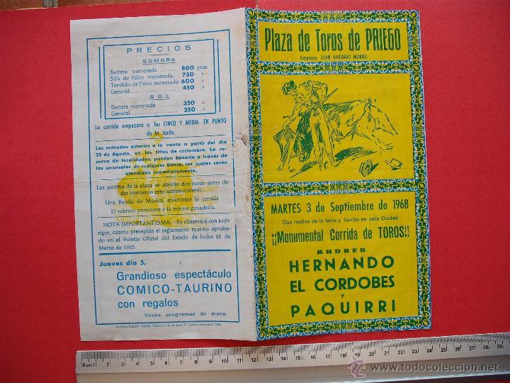 Carteles Toros: PROGRAMA TAURINO PLAZA DE TOROS DE PRIEGO 1968 - Foto 2 - 51500915