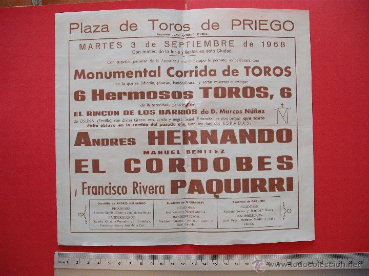 Carteles Toros: PROGRAMA TAURINO PLAZA DE TOROS DE PRIEGO 1968 - Foto 3 - 51500915