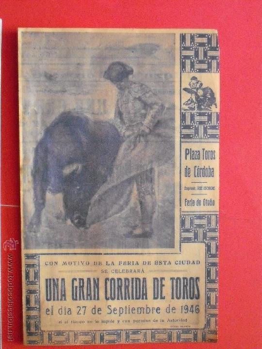 PROGRAMA TAURINO - PLAZA DE TOROS DE CORDOBA 1946 (Coleccionismo - Carteles Gran Formato - Carteles Toros)