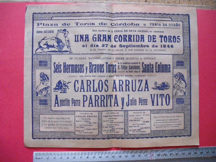 Carteles Toros: PROGRAMA TAURINO - PLAZA DE TOROS DE CORDOBA 1946 - Foto 2 - 51542106