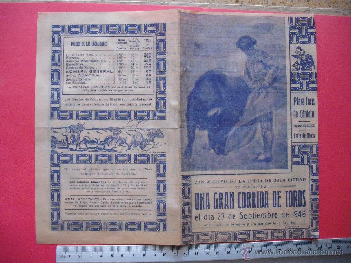 Carteles Toros: PROGRAMA TAURINO - PLAZA DE TOROS DE CORDOBA 1946 - Foto 3 - 51542106