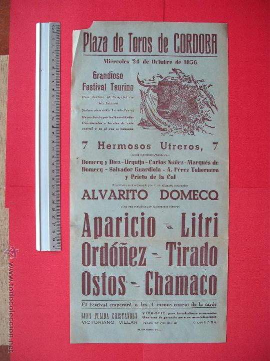 CARTEL DE LA PROGRAMACION - PLAZA DE TOROS DE CORDOBA 1956 (Coleccionismo - Carteles Gran Formato - Carteles Toros)