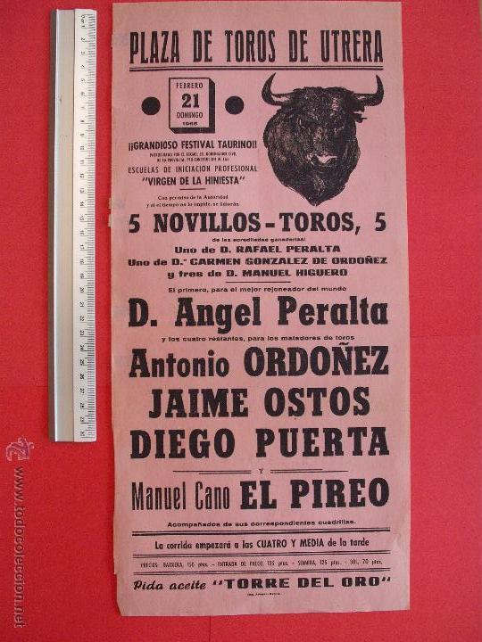 CARTEL DE LA PROGRAMACION - PLAZA DE TOROS DE UTRERA 1965 (Coleccionismo - Carteles Gran Formato - Carteles Toros)