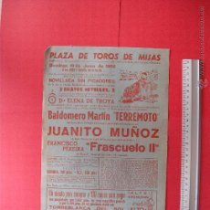 Carteles Toros: CARTEL DE LA PROGRAMACION - PLAZA DE TOROS DE MIJAS 1966. Lote 51610538
