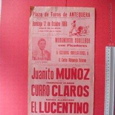 Carteles Toros: CARTEL DE LA PROGRAMACION - PLAZA DE TOROS DE ANTEQUERA 1966. Lote 51614885