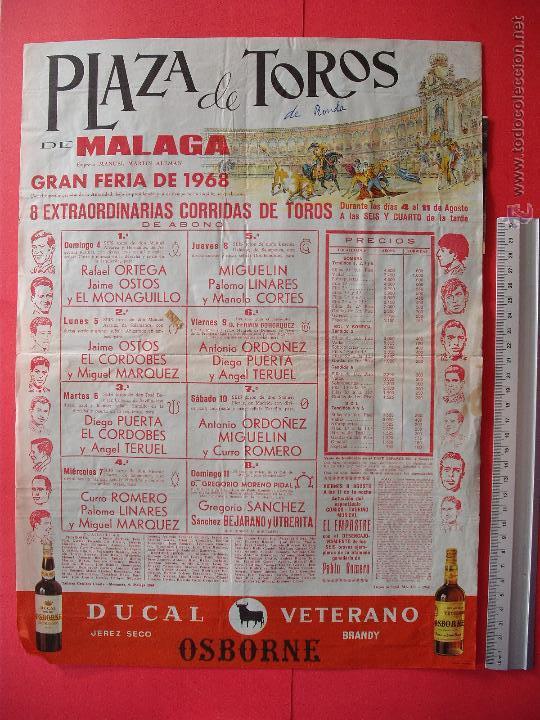 CARTEL DE LA PROGRAMACION - PLAZA DE TOROS DE MALAGA 1968 (Coleccionismo - Carteles Gran Formato - Carteles Toros)