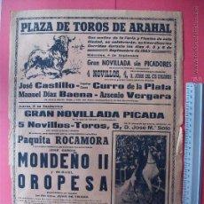 Carteles Toros: CARTEL PROGRAMACION - PLAZA DE TOROS DE ARAHAL1963. Lote 51617314