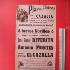 Carteles Toros: CARTEL PROGRAMACION - PLAZA DE TOROS DE CAZALLA 1967. Lote 51617478