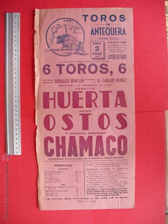 CARTEL PROGRAMACION - PLAZA DE TOROS DE ANTEQUERA 1957 (Coleccionismo - Carteles Gran Formato - Carteles Toros)