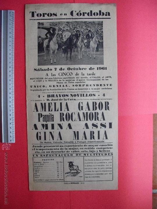 CARTEL PROGRAMACION - PLAZA DE TOROS DE CORDOBA 1961 (Coleccionismo - Carteles Gran Formato - Carteles Toros)
