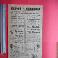 Carteles Toros: CARTEL PROGRAMACION - PLAZA DE TOROS DE CORDOBA 1962. Lote 51639749
