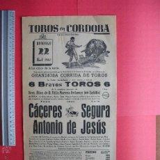 Carteles Toros: CARTEL PROGRAMACION - PLAZA DE TOROS DE CORDOBA 1962. Lote 51639838