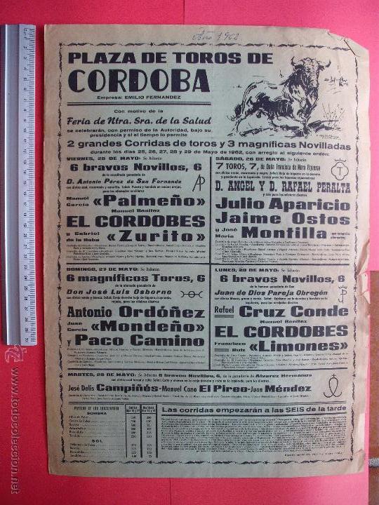 CARTEL PROGRAMACION - PLAZA DE TOROS DE CORDOBA 1962 (Coleccionismo - Carteles Gran Formato - Carteles Toros)