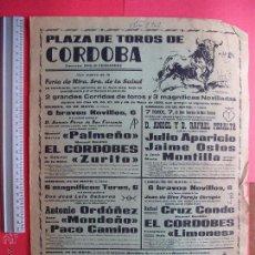 Carteles Toros: CARTEL PROGRAMACION - PLAZA DE TOROS DE CORDOBA 1962. Lote 51640005