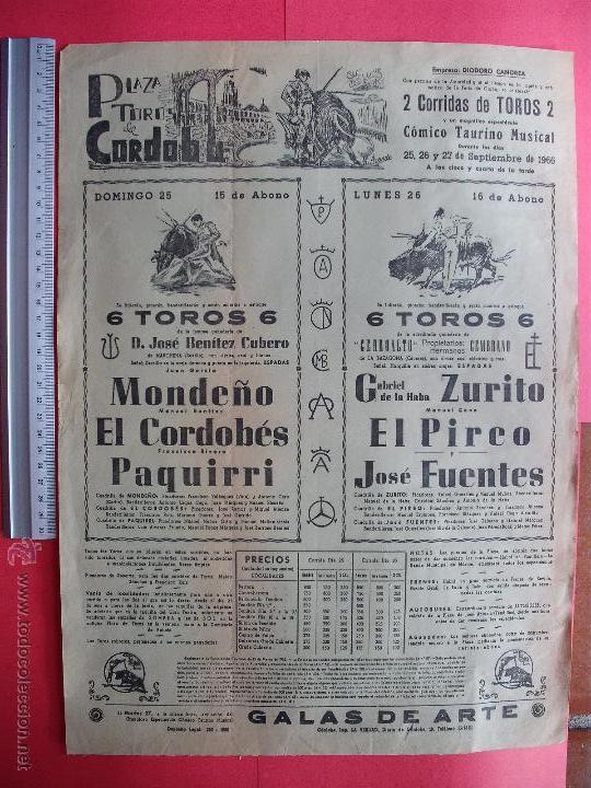 CARTEL PROGRAMACION - PLAZA DE TOROS DE CORDOBA 1966 (Coleccionismo - Carteles Gran Formato - Carteles Toros)