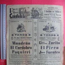 Carteles Toros: CARTEL PROGRAMACION - PLAZA DE TOROS DE CORDOBA 1966. Lote 51640746