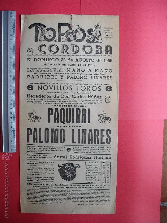 CARTEL PROGRAMACION - PLAZA DE TOROS DE CORDOBA 1965 (Coleccionismo - Carteles Gran Formato - Carteles Toros)