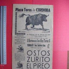 Carteles Toros: CARTEL PROGRAMACION - PLAZA DE TOROS DE CORDOBA 1967. Lote 51644632