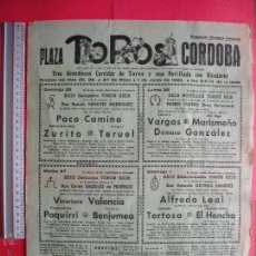 Carteles Toros: CARTEL PROGRAMACION - PLAZA DE TOROS DE CORDOBA 1969. Lote 51644710