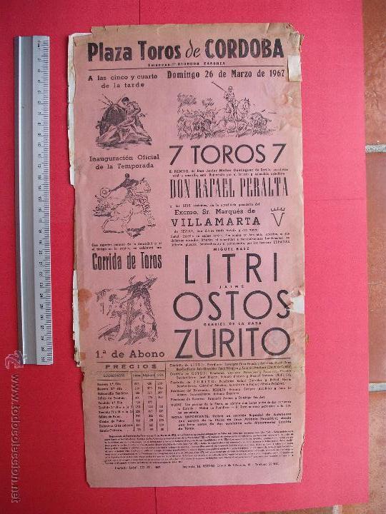 CARTEL PROGRAMACION - PLAZA DE TOROS DE CORDOBA 1967 (Coleccionismo - Carteles Gran Formato - Carteles Toros)