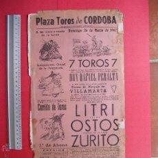 Carteles Toros: CARTEL PROGRAMACION - PLAZA DE TOROS DE CORDOBA 1967. Lote 51647634