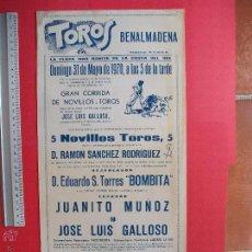 Carteles Toros: CARTEL PROGRAMACION - PLAZA DE TOROS DE BENALMADENA 1970. Lote 51650209