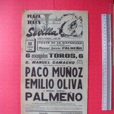 Carteles Toros: CARTEL PROGRAMACION - PLAZA DE TOROS DE SEVILLA 1962. Lote 51671754